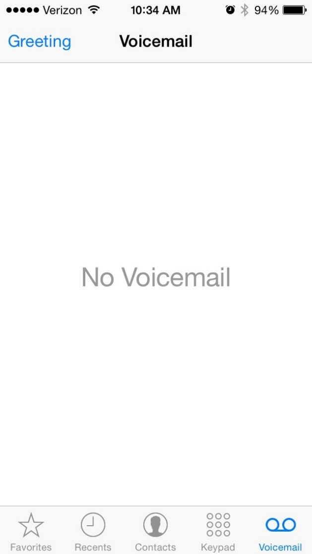 Iphone changing voicemail greeting service desk support center one this next screen you can change the greeting to custom and play the current greeting or record a new one when you are done make sure to select save m4hsunfo Choice Image